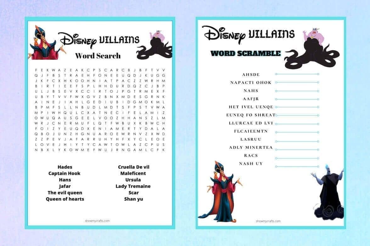 Disney villains word games