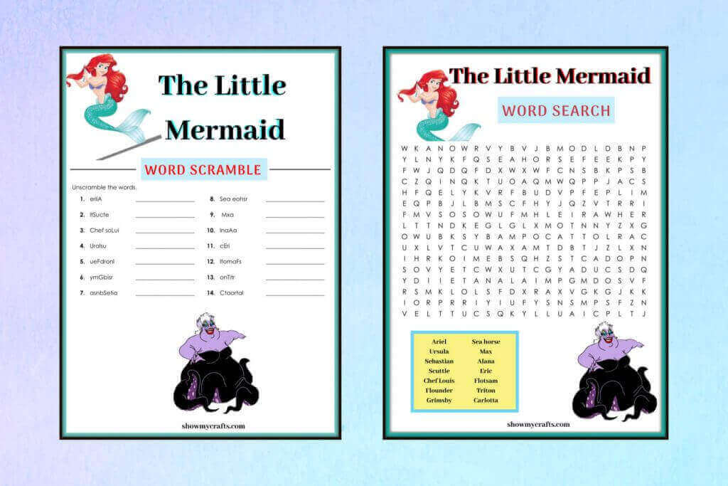 The little mermaid word search and scramble