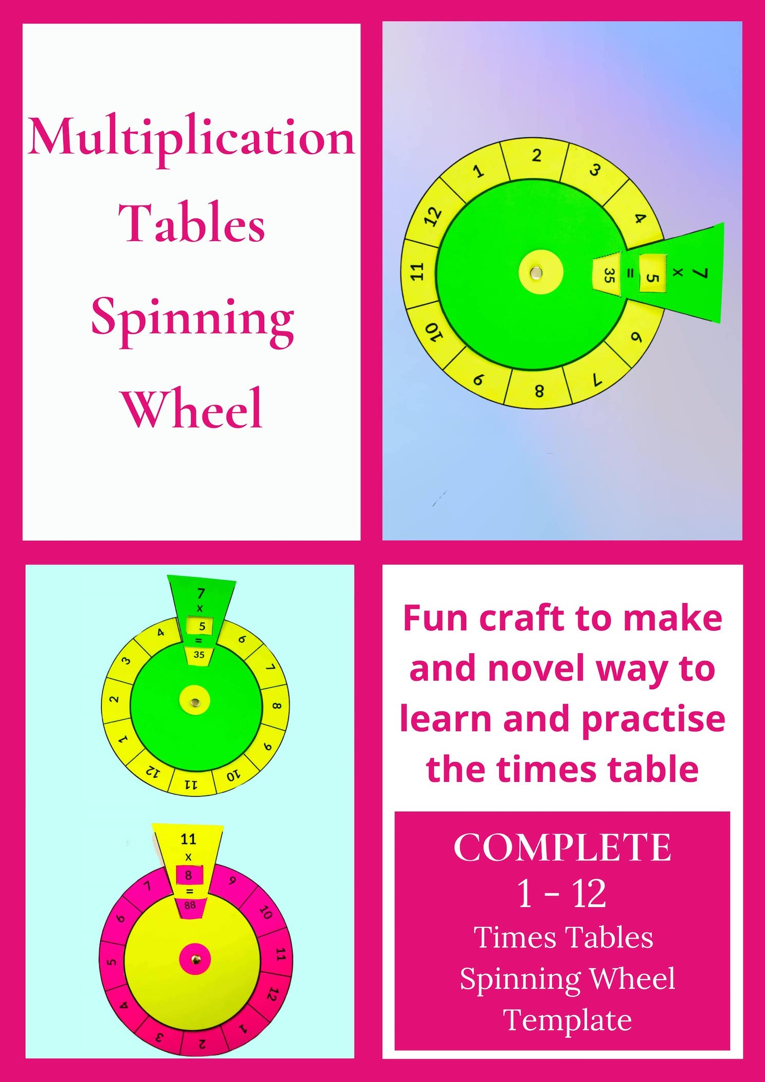 multiplication tables spinning wheel